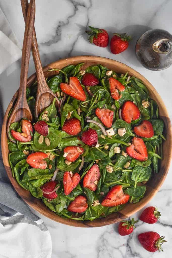 overhead view of strawberry spinach salad