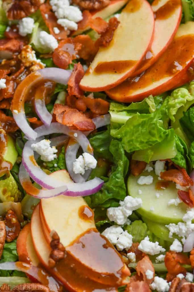 close up view of apple bacon salad