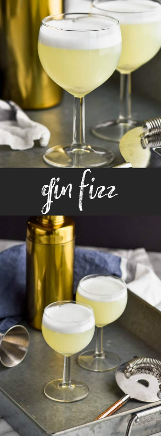 collage of photos of gin fizz recipe with frothy top