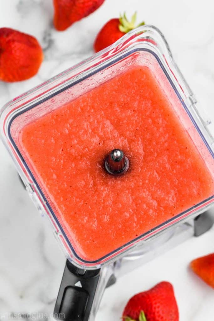 overhead view of a blender full of frose recipe