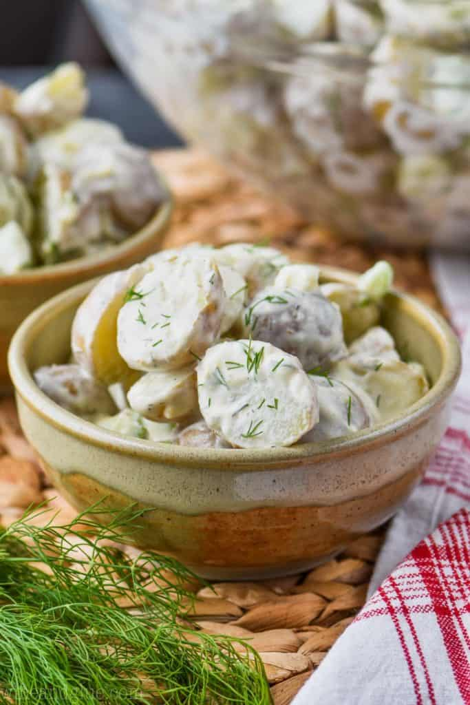 small bowl of healthy potato salad
