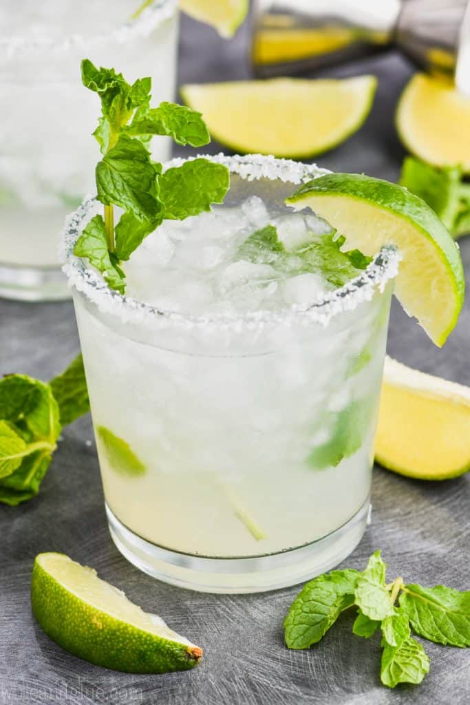 small tumbler glass filled with mojito margarita recipe with salt rim, lime wedge, and mint sprig