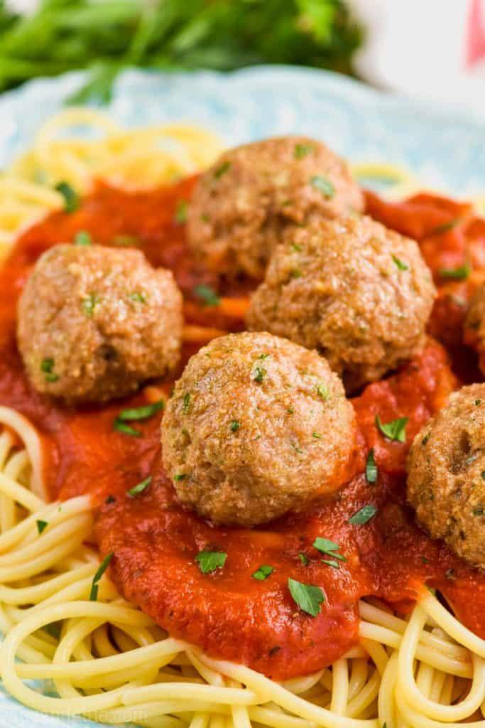 healthy turkey meatballs on sauce over spaghetti