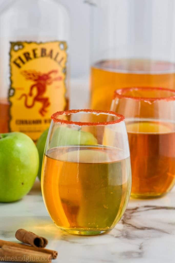 glass of fireball whiskey punch