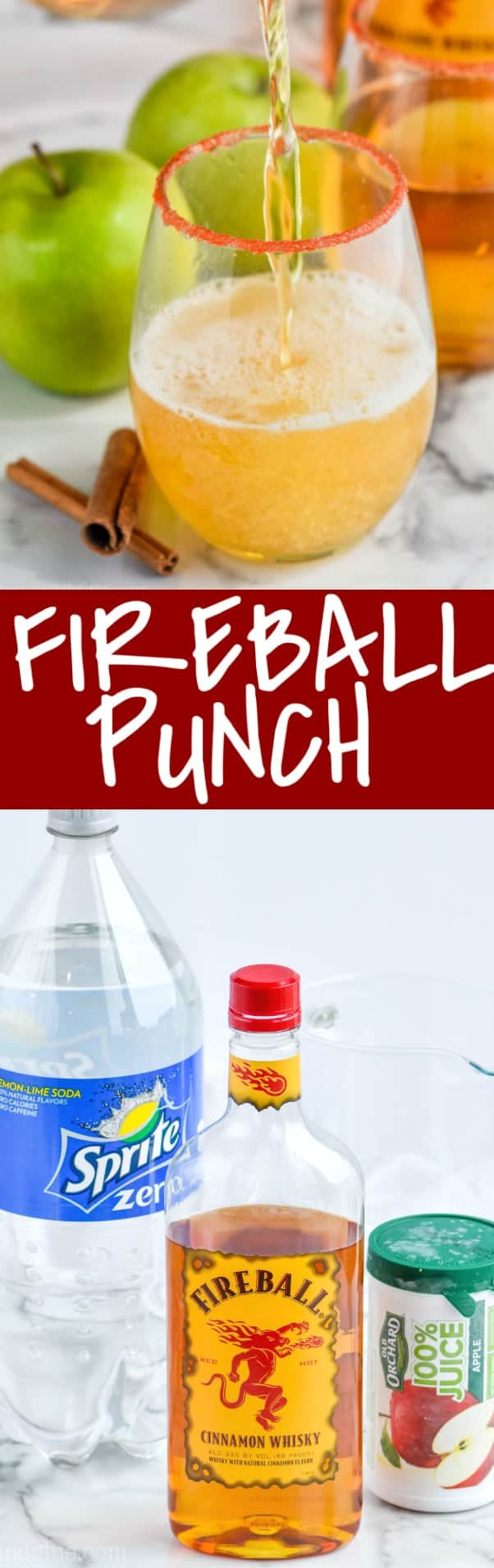 fireball punch being poured into a glass