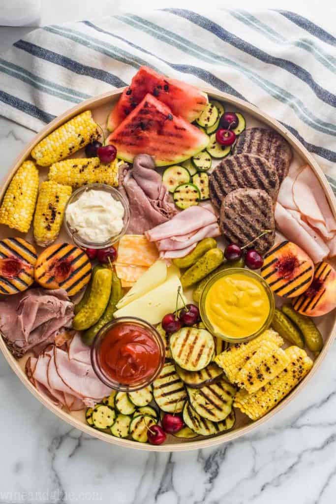 overhead of a grilled charcuterie tray