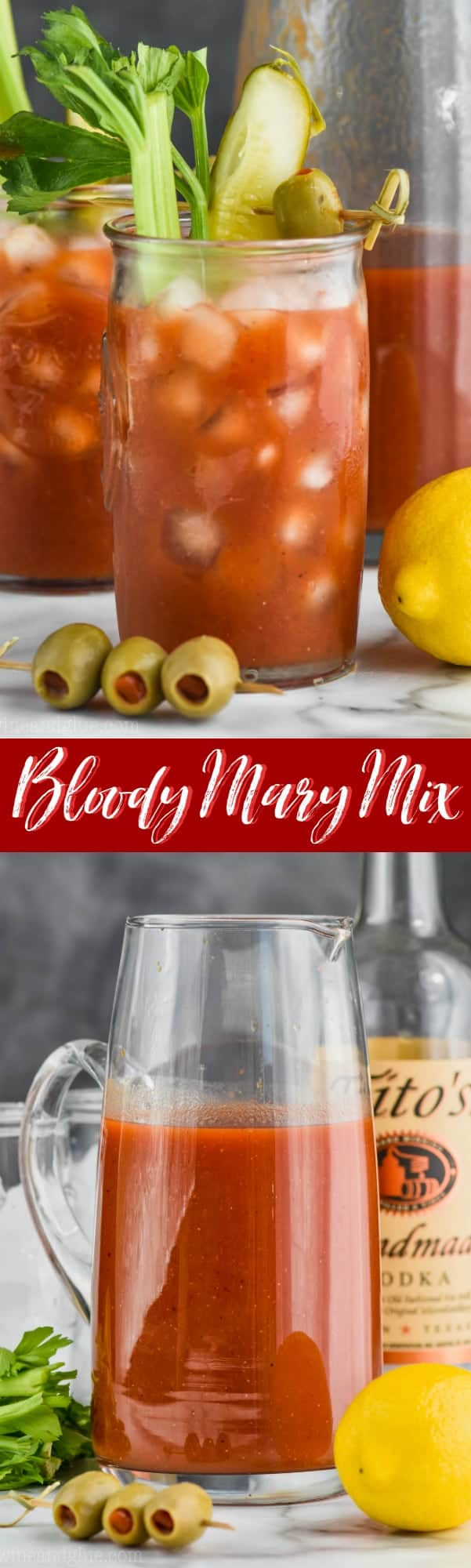 a glass of the best bloody mary mix recipe