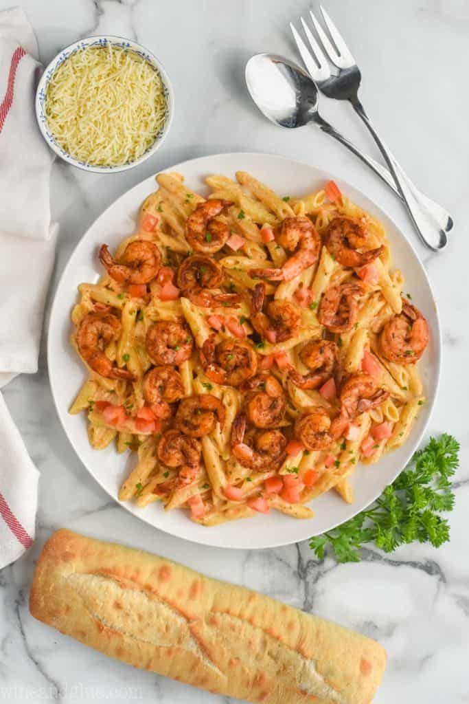 overhead view of cajun shrimp pasta