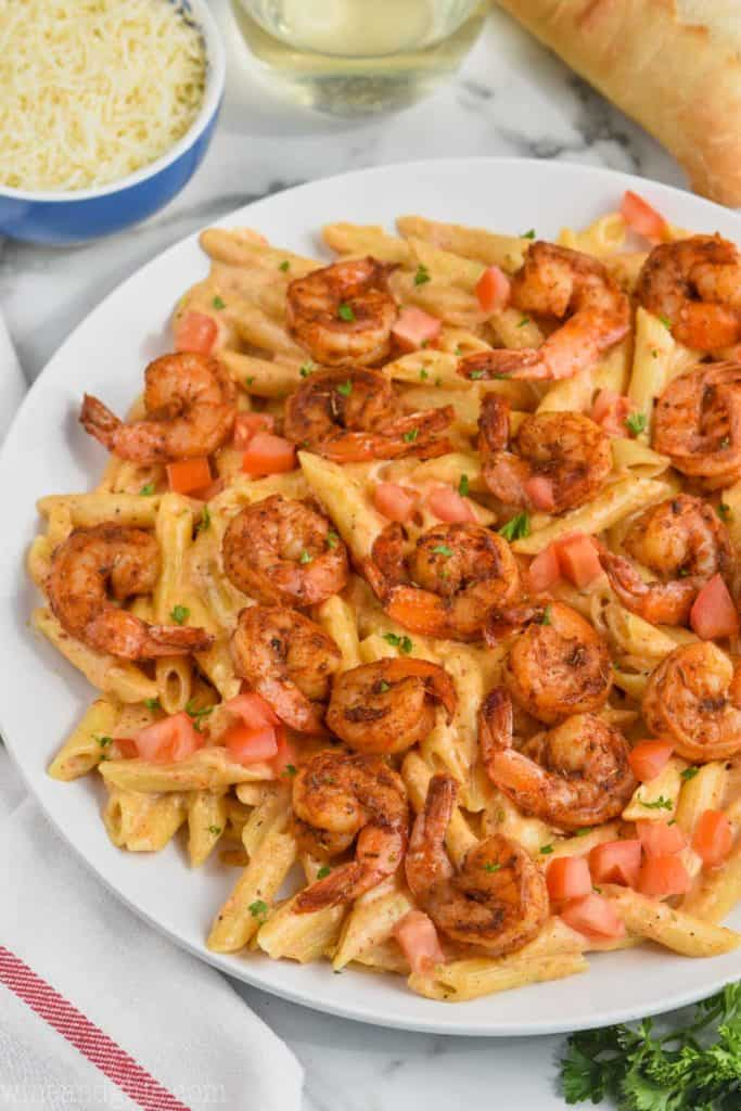 creamy cajun shrimp pasta recipe on a plate