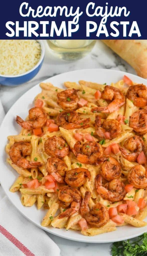 creamy cajun shrimp pasta recipe on a plate