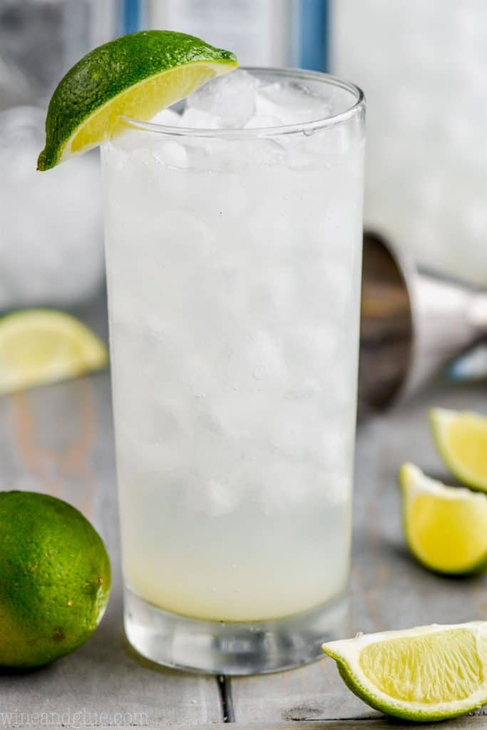 close up glass of the best gin rickey recipe