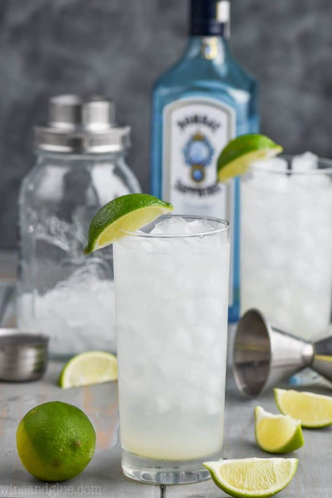 glass of gin rickey recipe with ingredients in the background