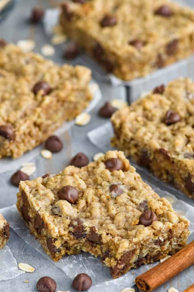 the best oatmeal chocolate chip bar recipe with chocolate chips and oatmeal