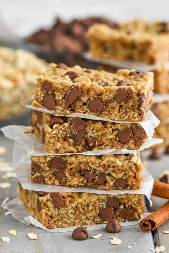 stack of chocolate chip oatmeal bar recipe