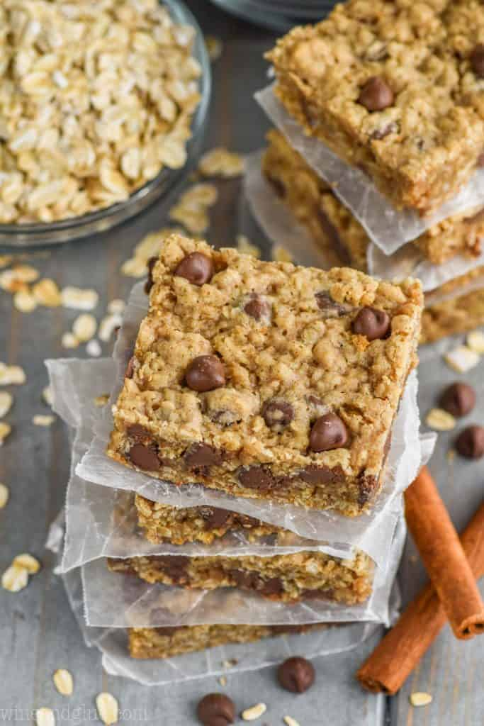 overhead view of chocolate chip oatmeal bar recipe