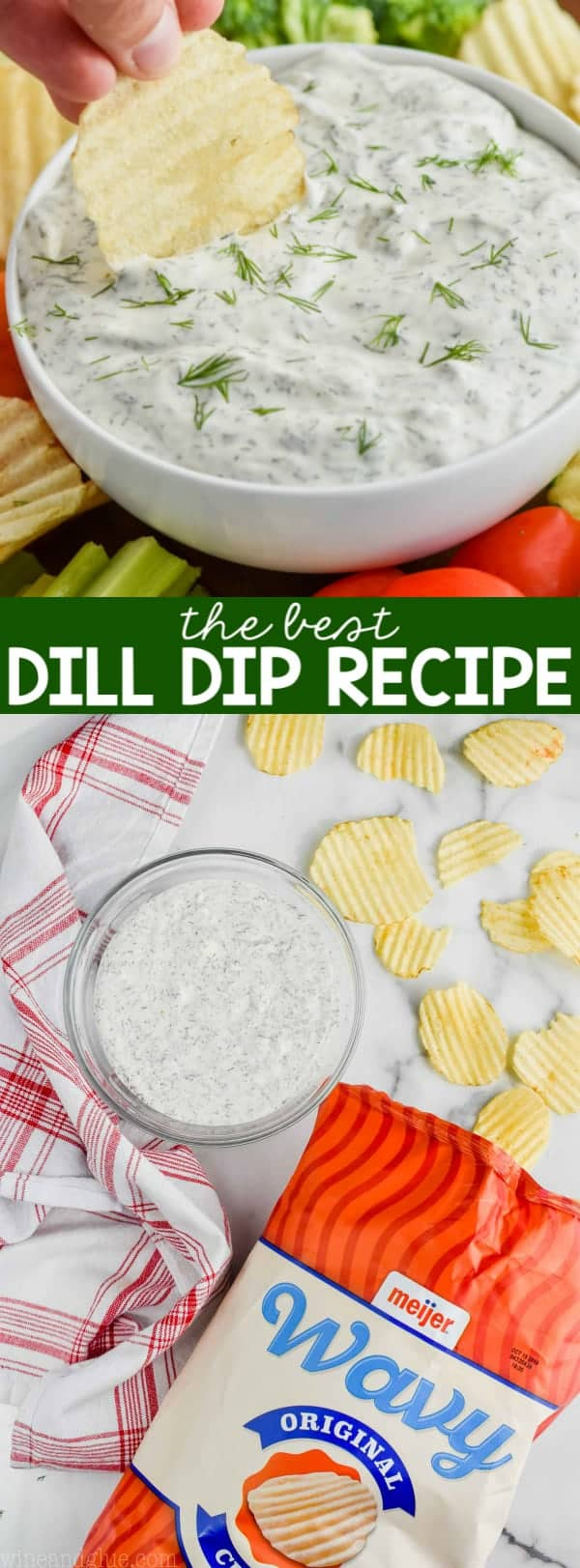 up close of chip being dipped into dill dip recipe