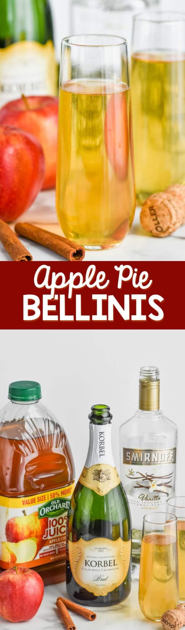 champagne glass of easy bellini recipe, apple pie bellini