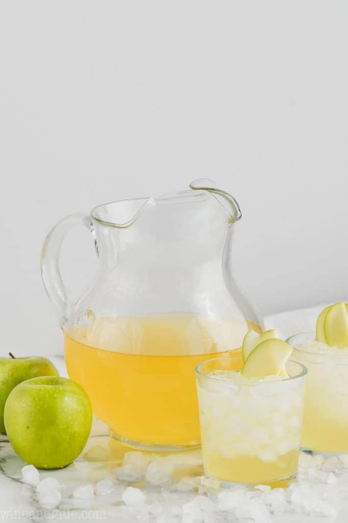 pitcher of caramel apple vodka punch