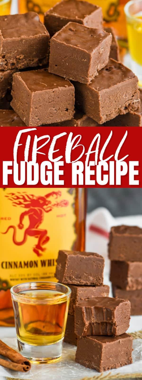 easy fireball fudge recipe, fudge made with whiskey