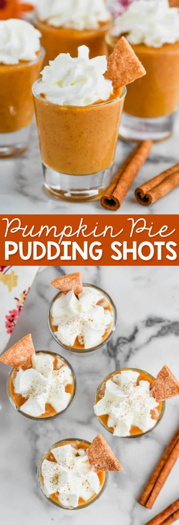 shot glass full of pumpkin pie shot topped with whipped cream