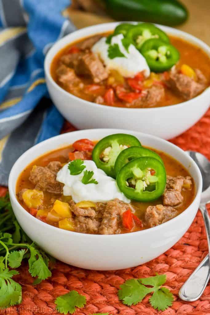 side view of a bowl of steak fajita soup recipe