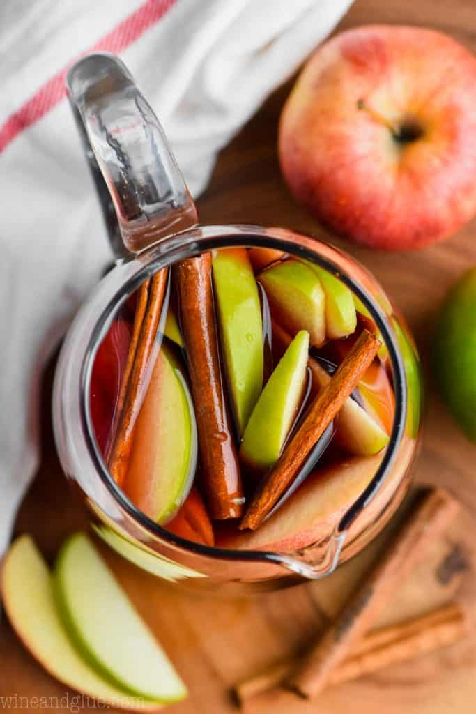 overhead view of a pitcher of cinnamon sangria
