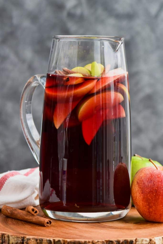 pitcher of cinnamon whiskey sangria recipe