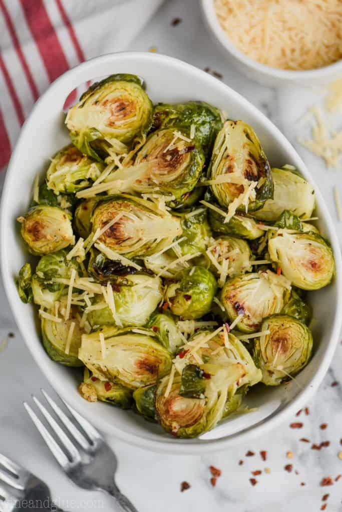 overhead view of crispy brussels sprouts in a bowl