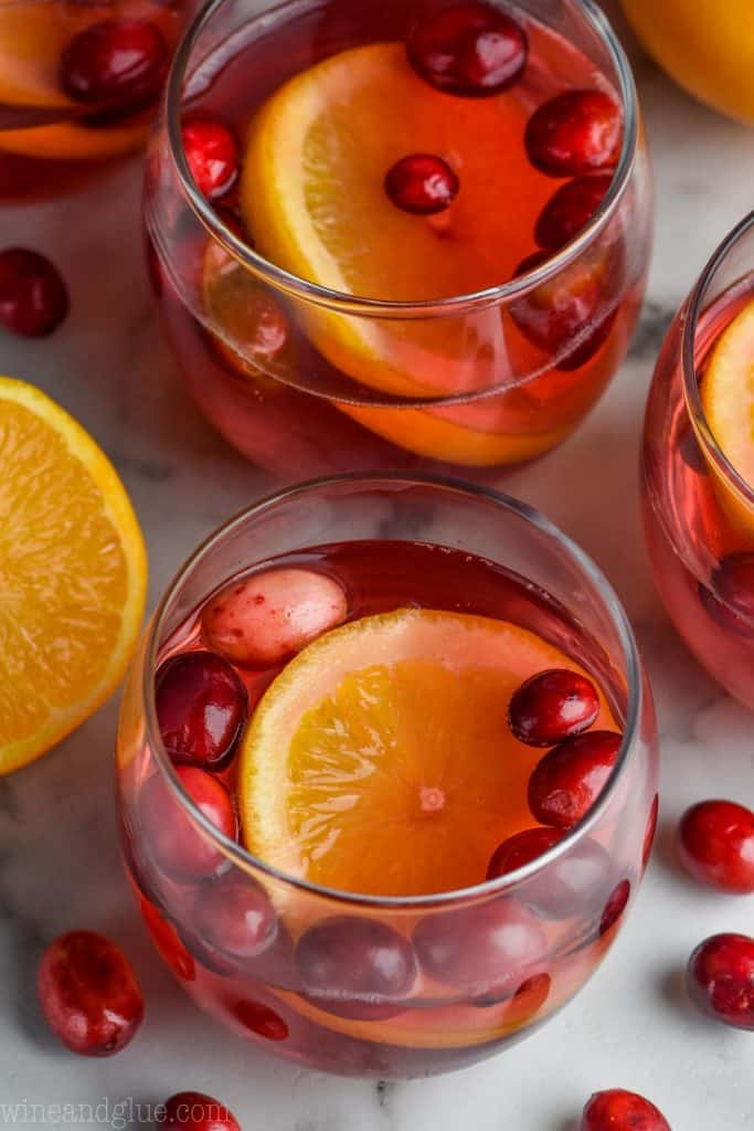 overhead view of glasses full of easy christmas punch recipe