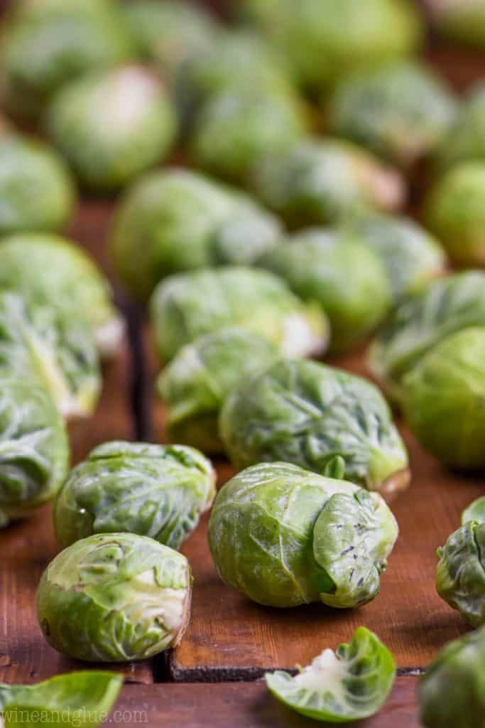 uncooked brussels sprouts ready to be made into crispy brussel sprouts