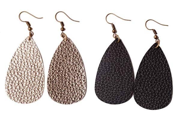 two pairs of faux leather teardrop earrings