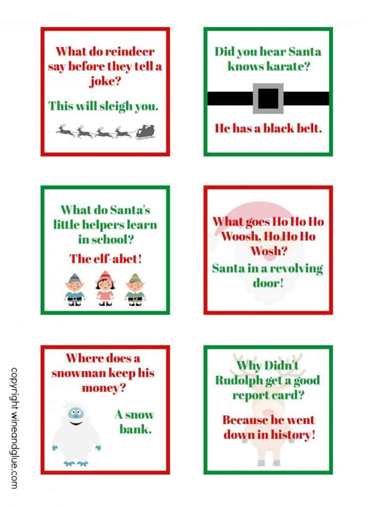 sheet of funny printable lunch box jokes