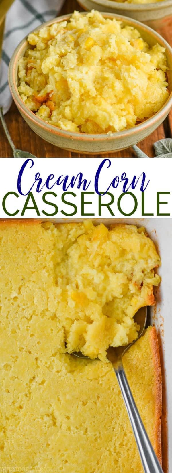 cream corn casserole photo collage