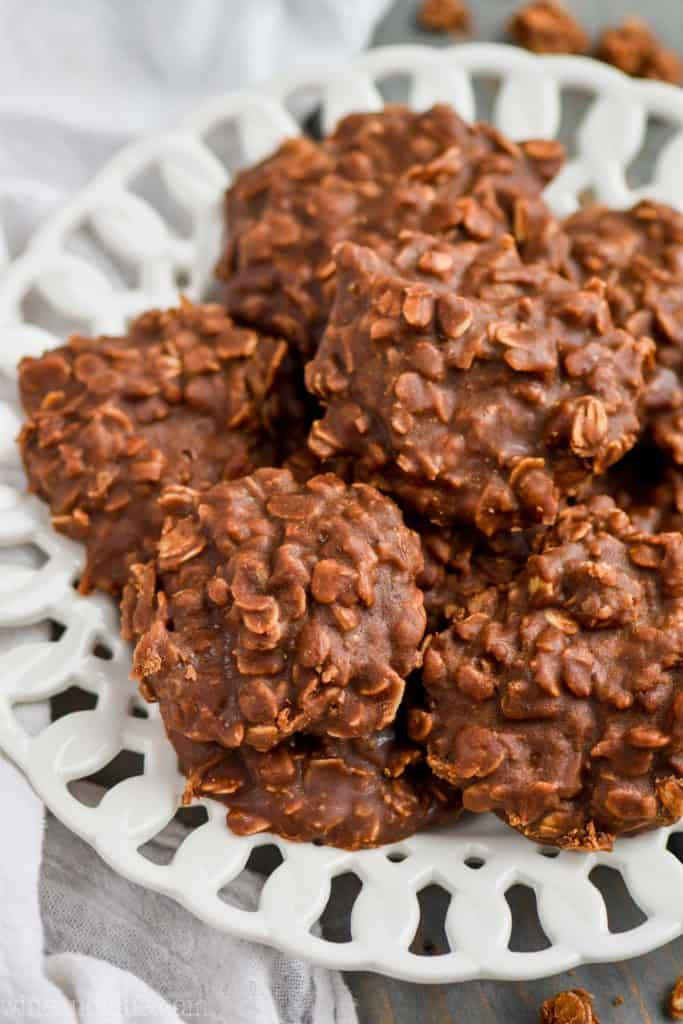 no bake cookies with coconut on a white plate
