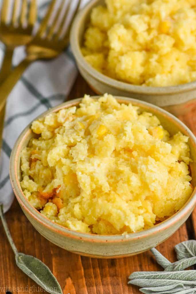 small bowl full of easy corn casserole recipe