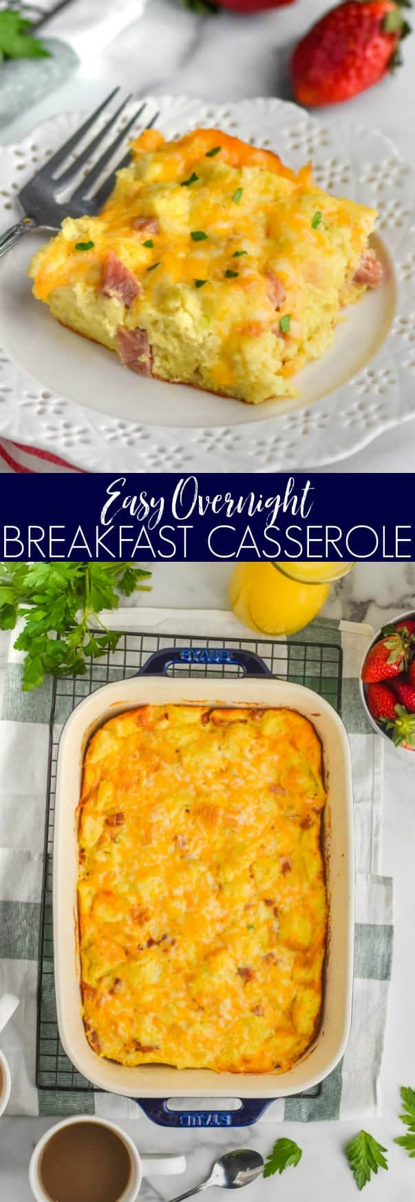 collage of photos of ham and cheese overnight breakfast casserole