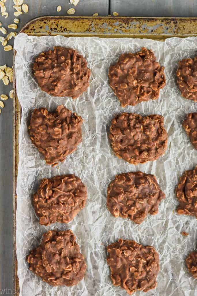 easy chocolate peanut butter no bake cookies on a baking sheet lined with wax paper