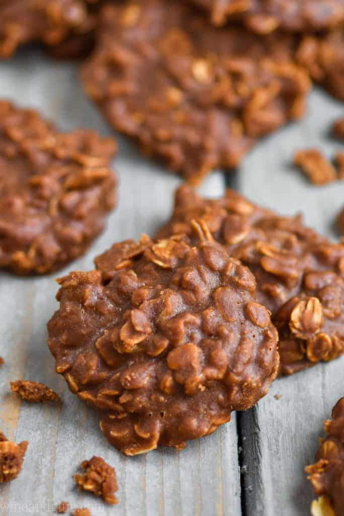 up close of a peanut butter chocolate no bake cookie