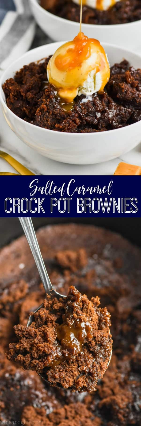 collage of photos of crock pot brownies