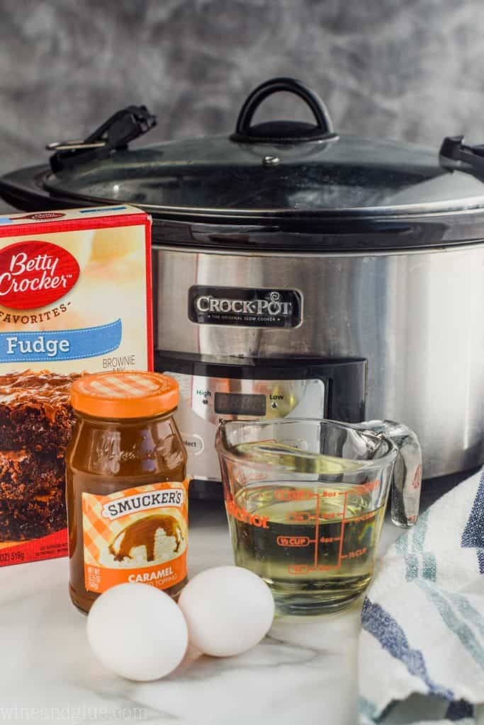 ingredients for how to make brownies in the crock pot