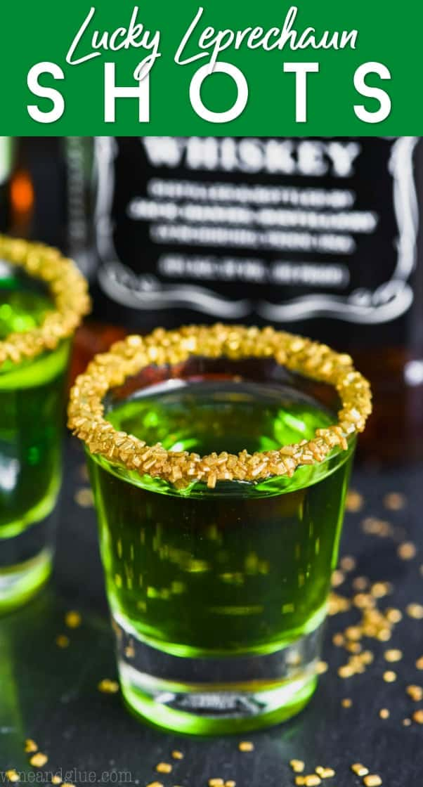 shot glass of lucky leprechaun shots rimmed with gold sprinkles