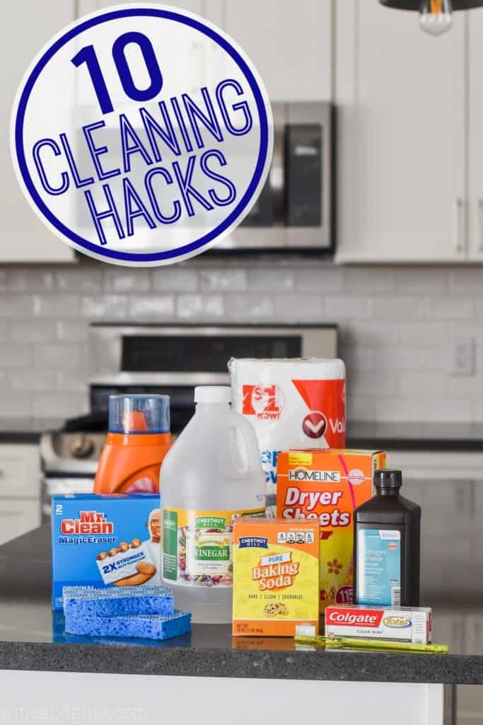 household items on a counter used for cleaning hacks