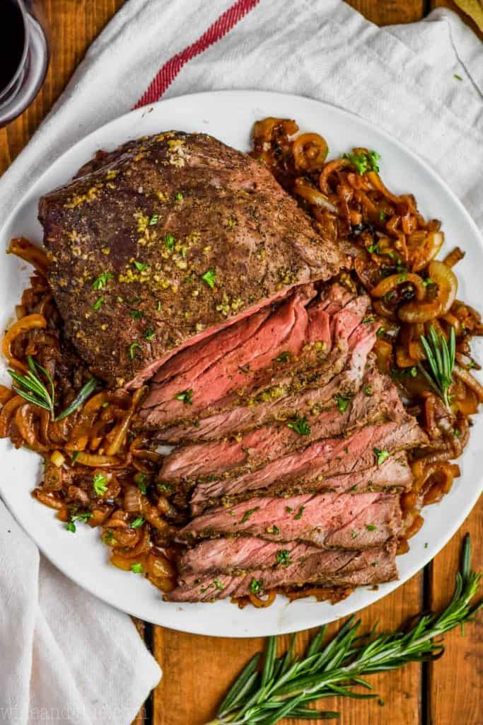 top round roast beef recipe on a white plate