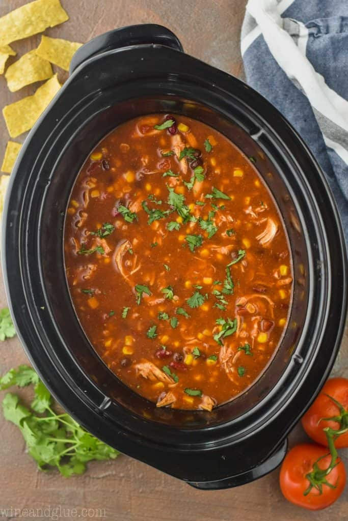 overhead view of a crock pot full of chicken tortilla soup that has been garnished with cilantro