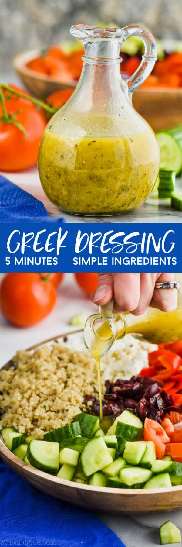 collage of greek dressing pictures