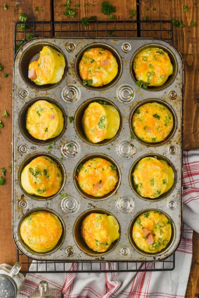 over head view of muffin tin eggs in a muffin tin