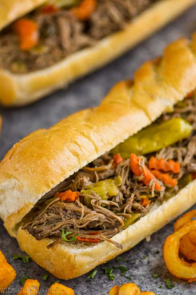 close up photo of Italian beef on a hoagie roll