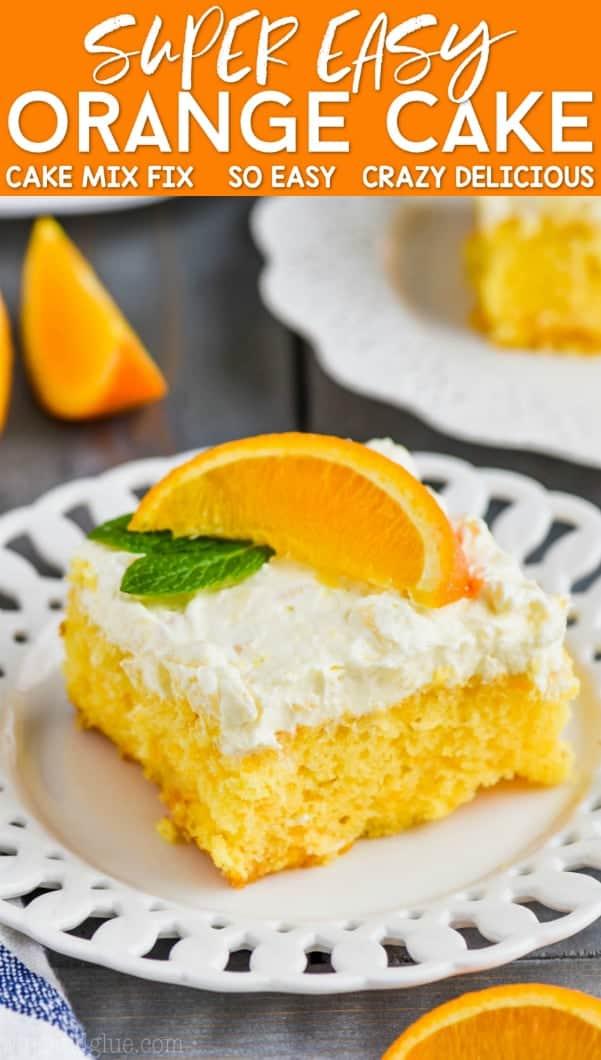orange cake recipe on a plate garnished with a fresh orange