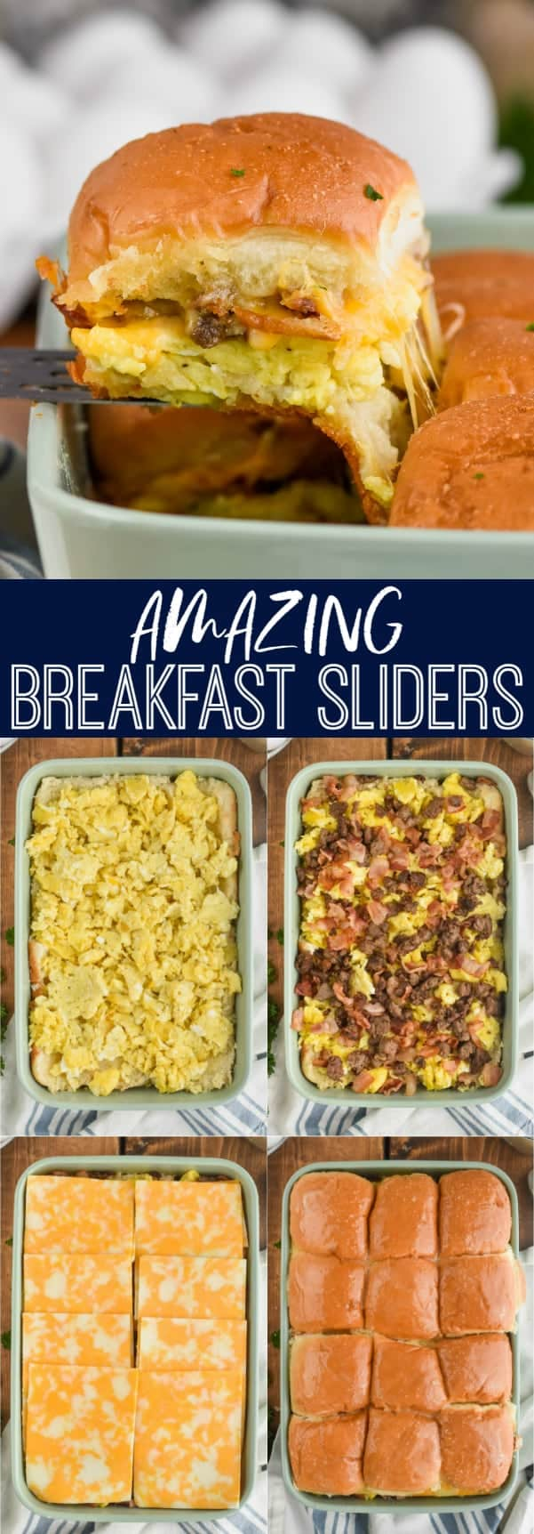 collage of how to make breakfast sliders recipe