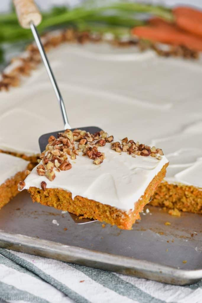 spatula dishing up carrot cake recipe from scratch